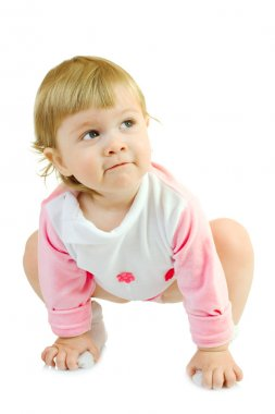 Small baby make gymnastic exercise