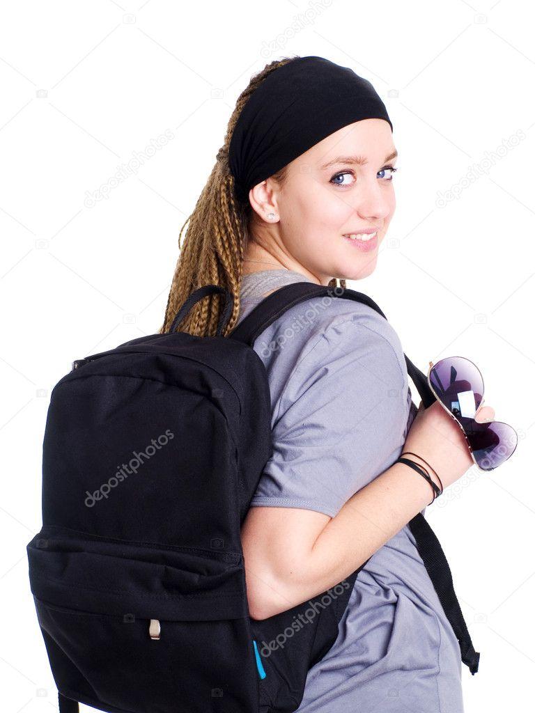 441f7157e8bbc sırt çantası ve su tutan genç öğrenci — Stok Foto © ayo888 #1709231