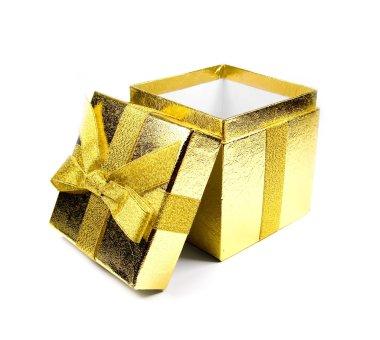 Opened golden shining gift box