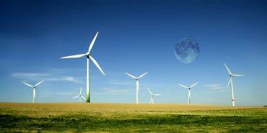 Wind turbines farm with full moon. Alternative energy source. stock vector