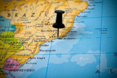 Small pin pointing on Rio de Janeiro