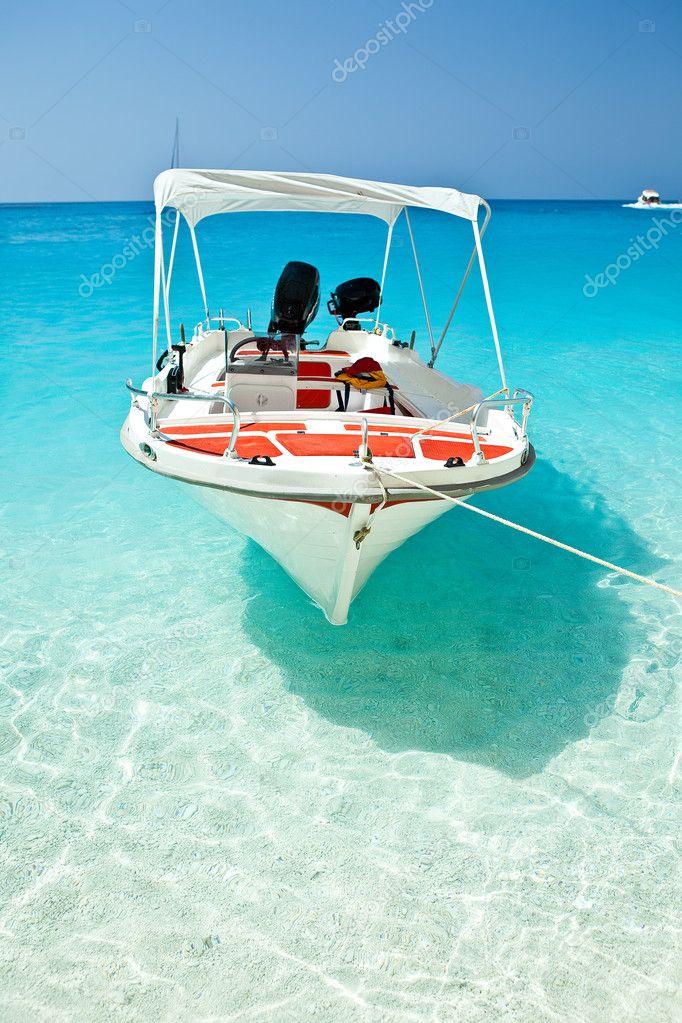 Small boat moored at Wreck Bay, Zante (Zakynthos