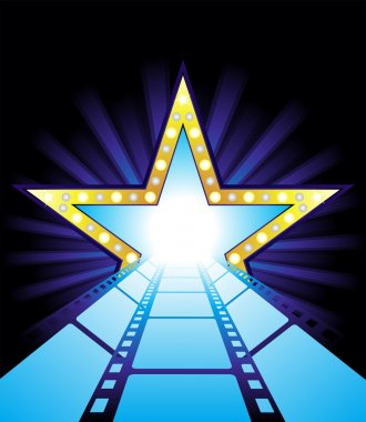Fame star at the end of film road stock vector