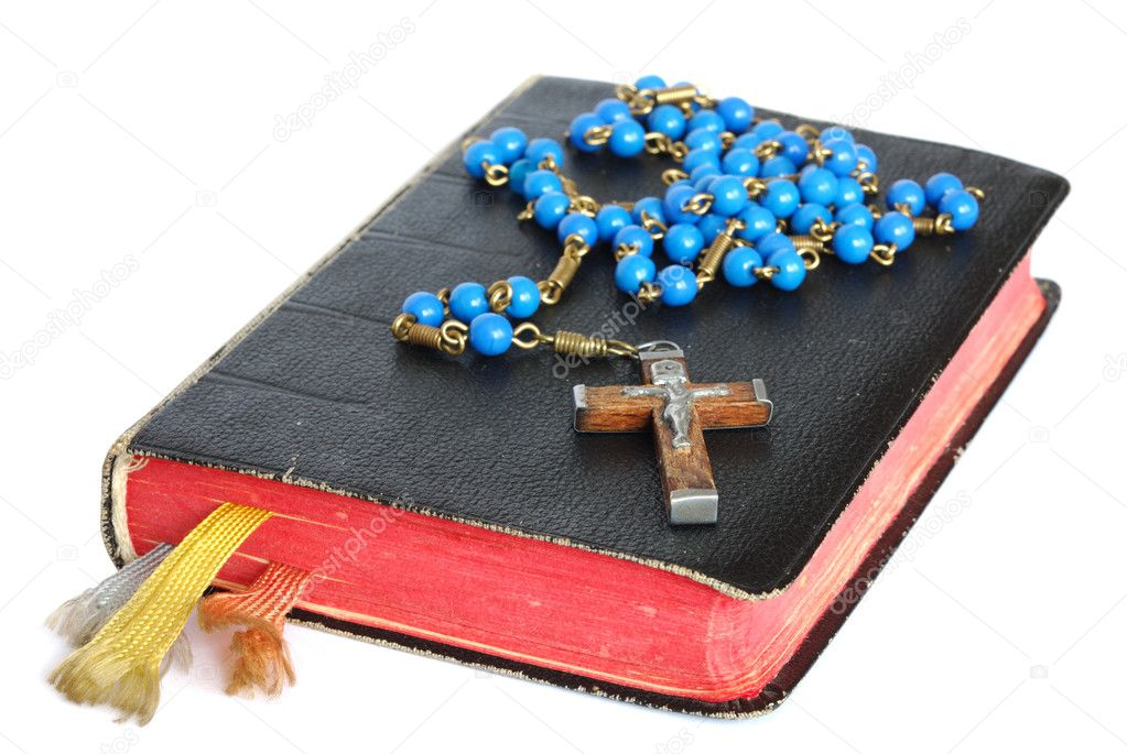 Old prayer book and rosary isolated on white stock vector