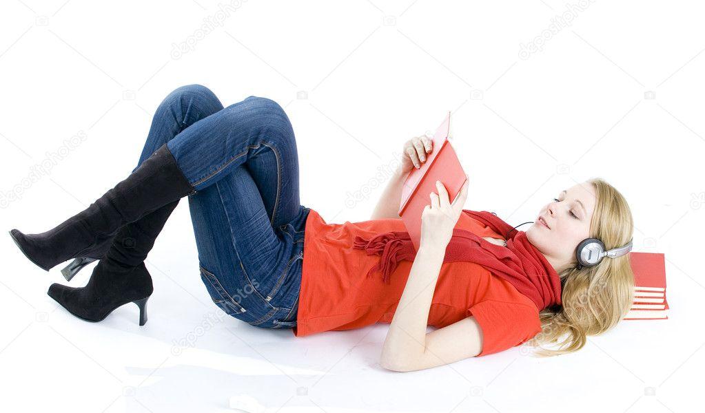 Reading girl in headphones