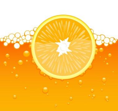 Orange slice in the juice
