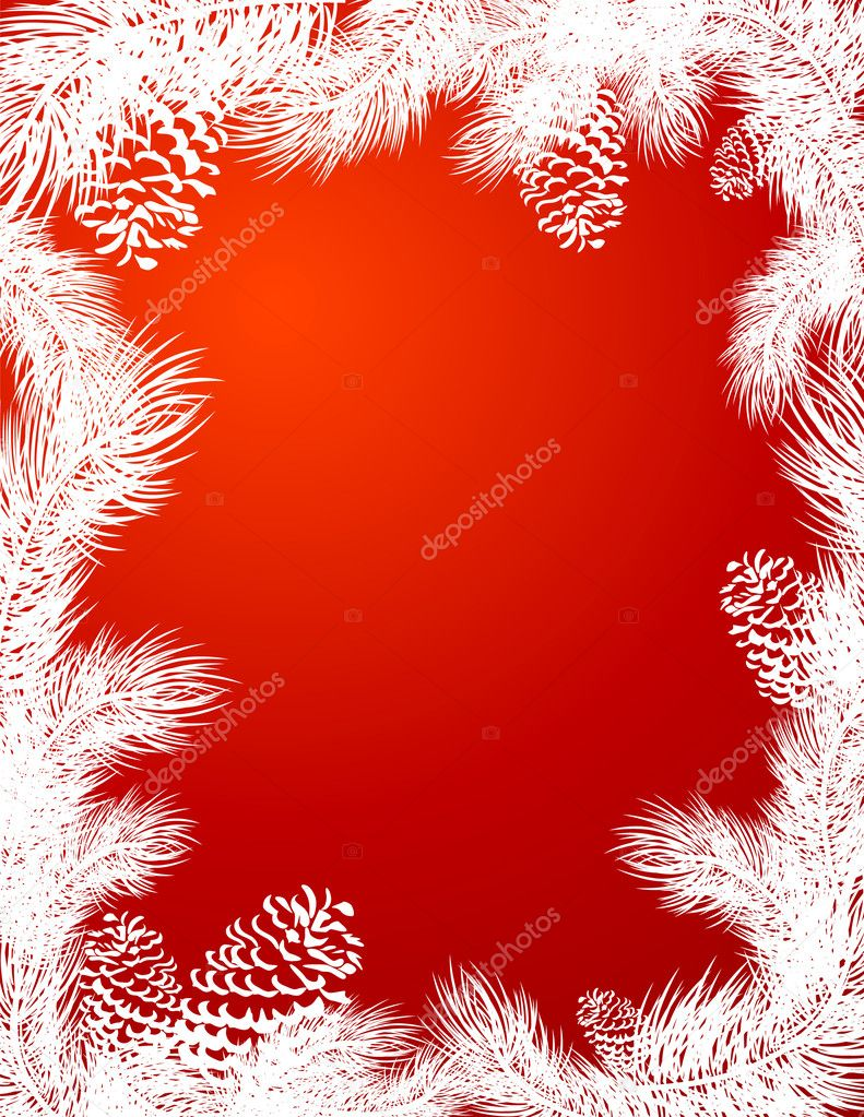 Frame_of_pine_trees_branch_red_color