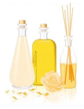Spa oil bottles, vector illustration stock vector