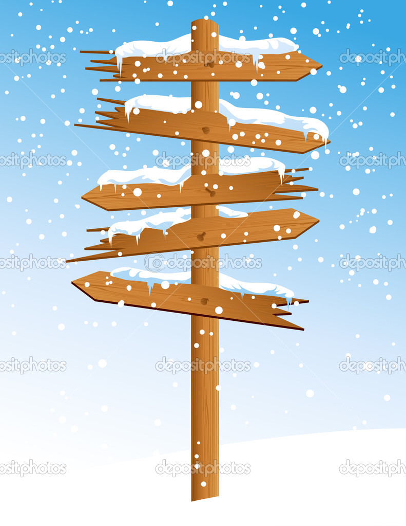 Winter arrow with snowfall