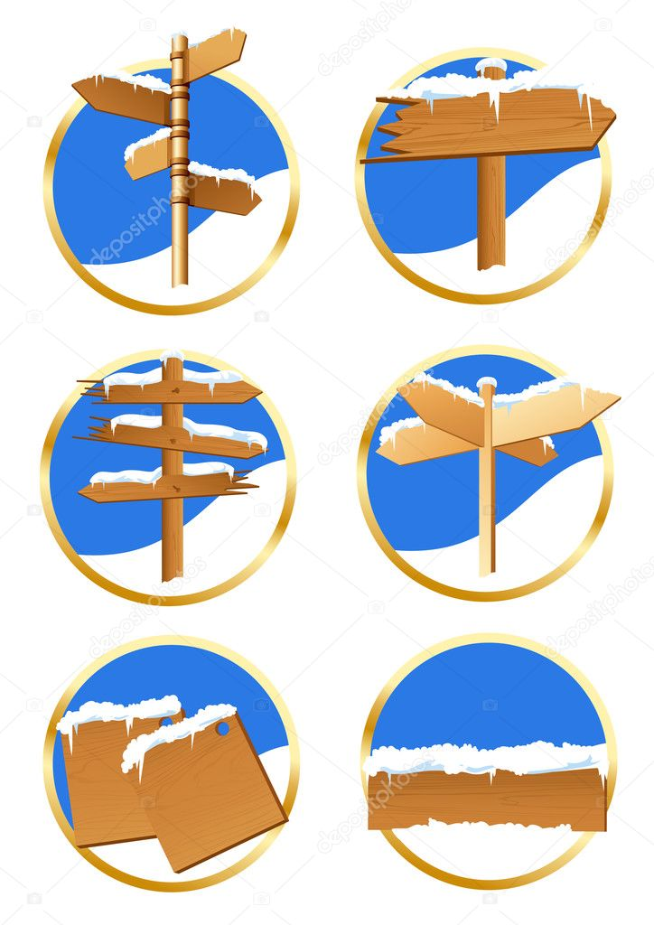 Winter direction sign icons