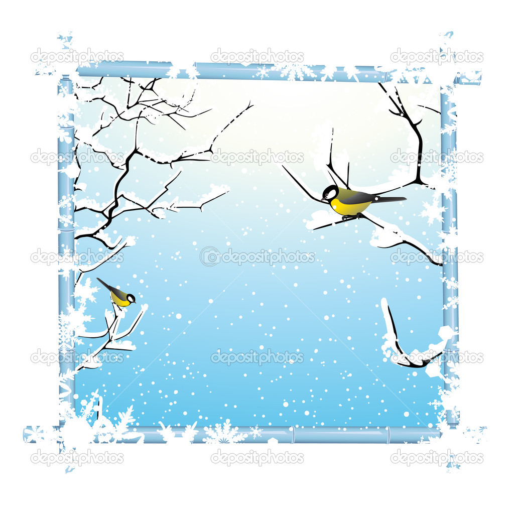 Winter frame with trees branch and birds