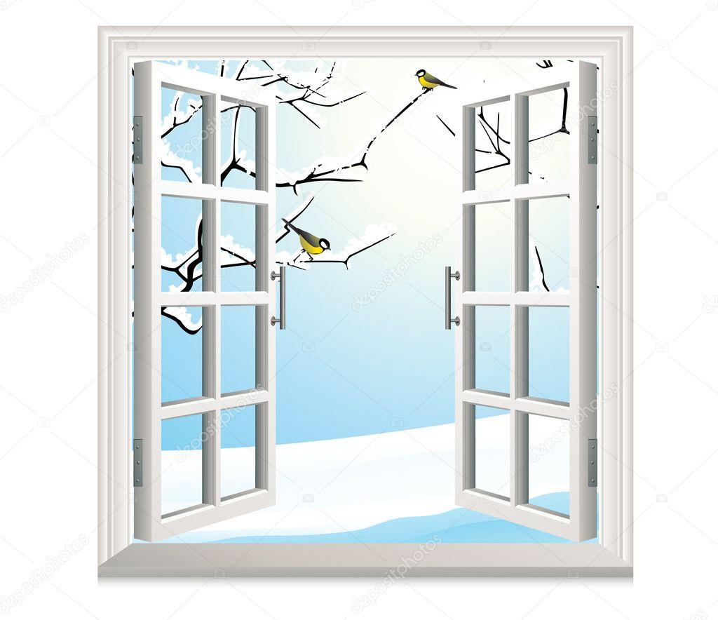 Offenes fenster im winter  Fenster — Stockvektor #1708828