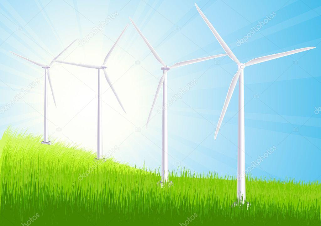 Wind farm summer field