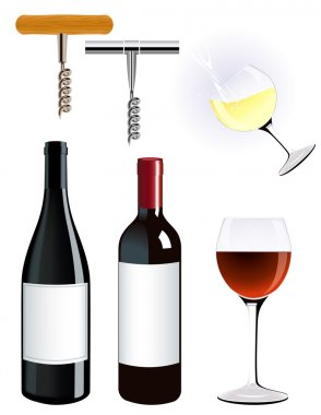 Сorkscrew and vine bottle