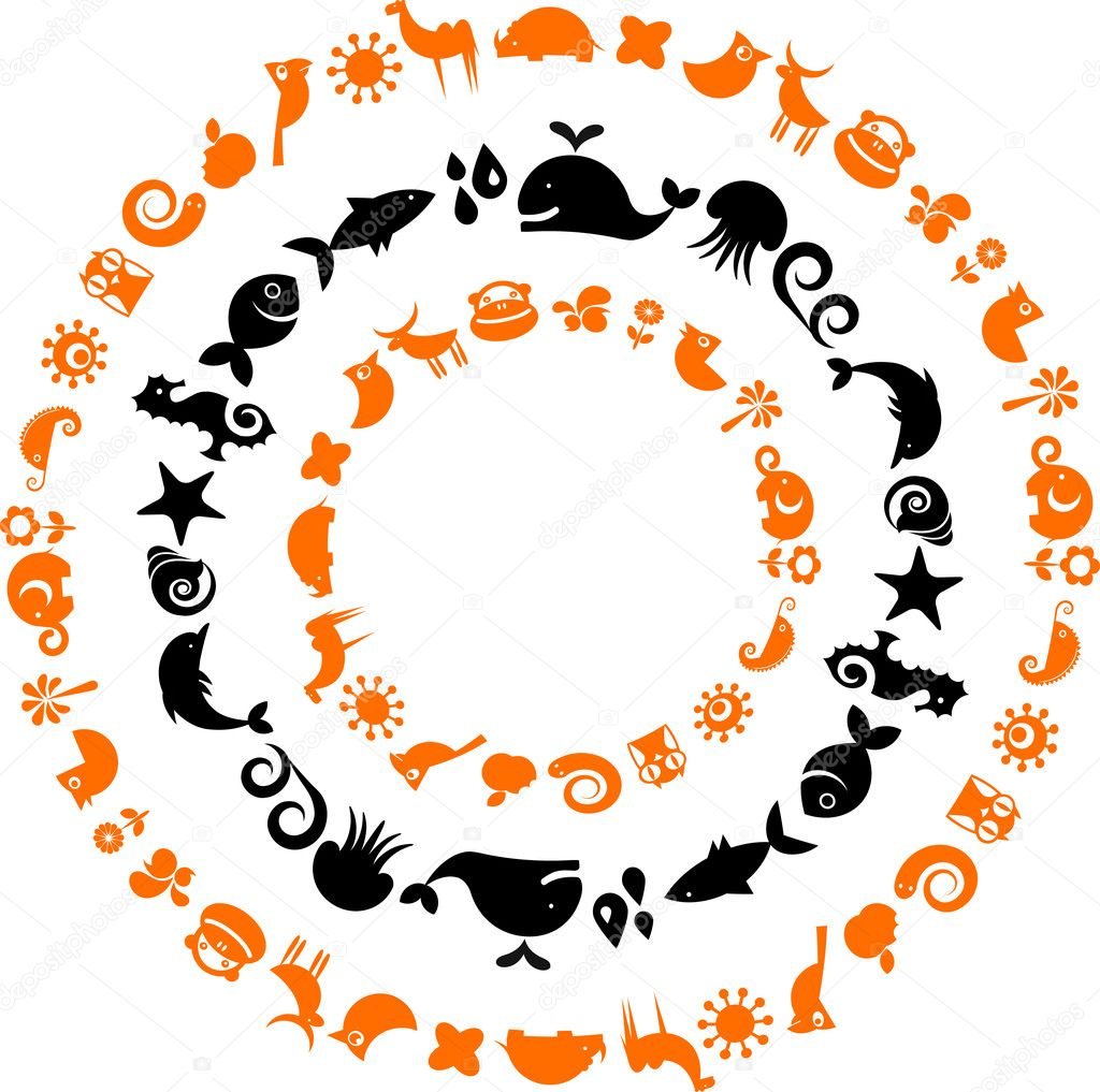 Animal planet - ecological icons set