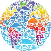 Globus-Umriss mit Natursymbolen