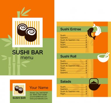 Template of sushi menu