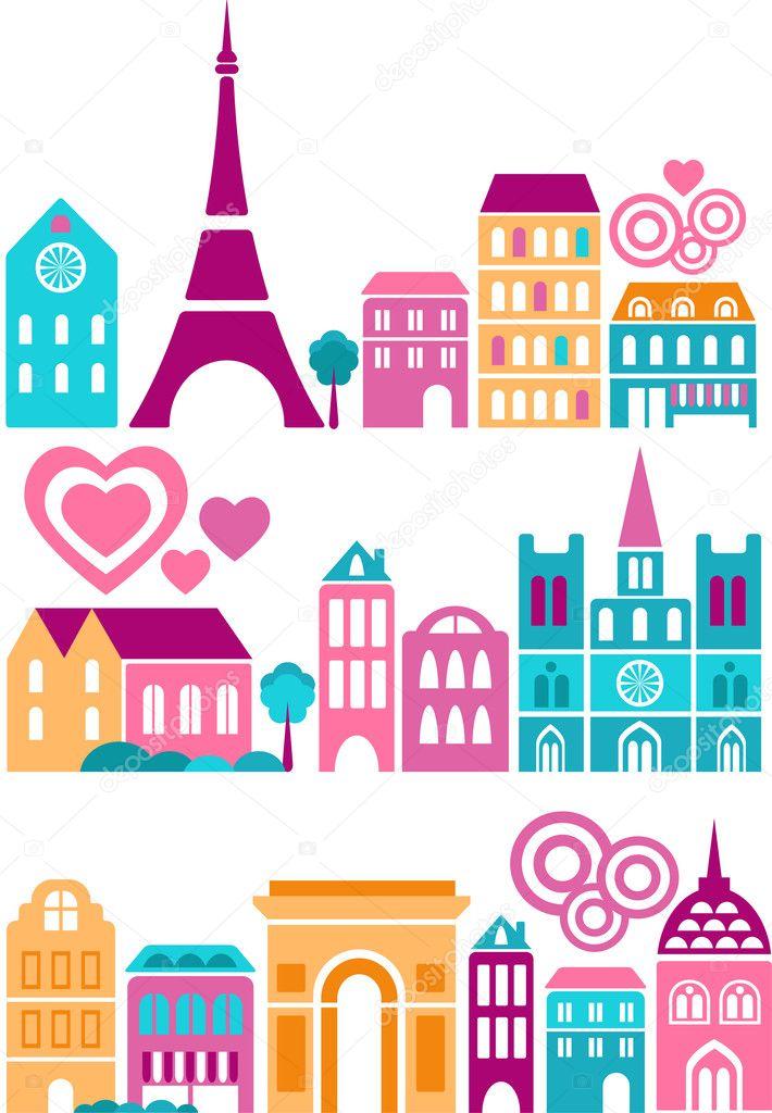 Cute vector illustration of Paris