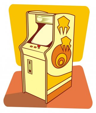 Vector illustration of a retro game coin console. stock vector