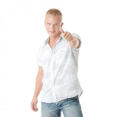 Casual man portrait doing the thumbs up sign