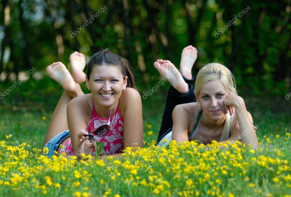 Girls in park
