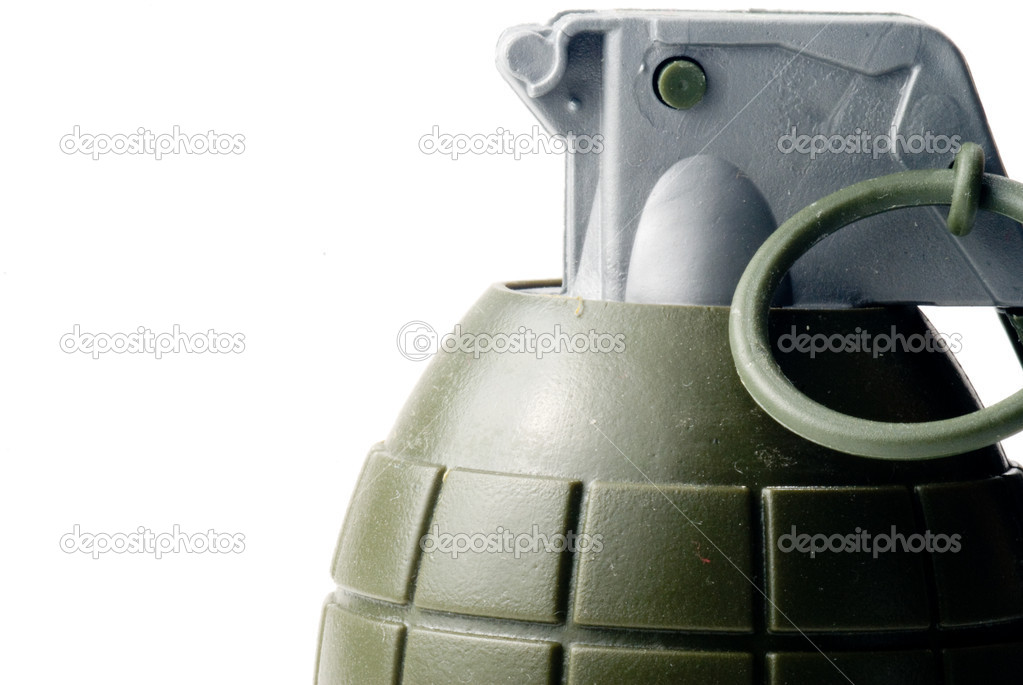 A military hand grenade ready for action. stock vector