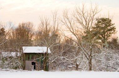 Tobacco Barn in Snow