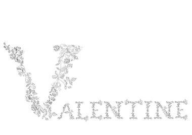 Floral font. Letters Valentine