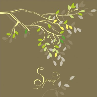 Stylized background with spring branch