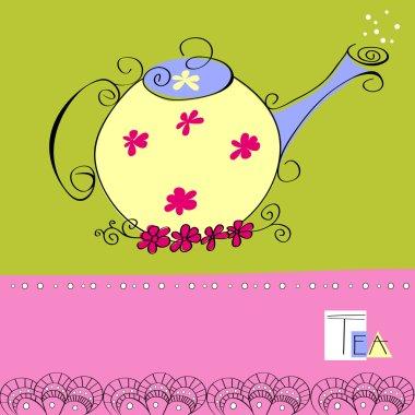 Decorative card with teapot