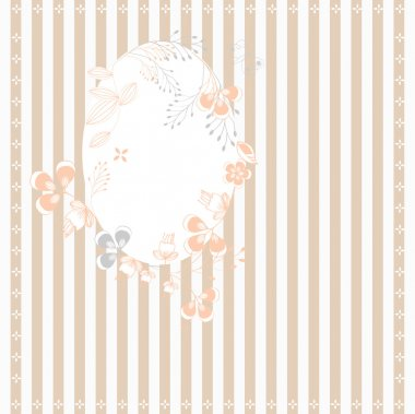 Stripped background with floral frame