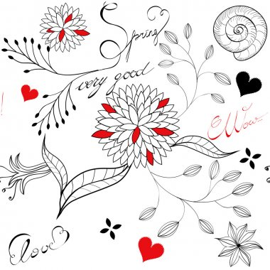 Floral seamless pattern with inscription