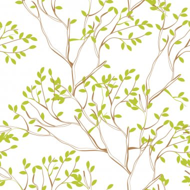Seamless wallpaper with tree branches and green spring foliage clip art vector