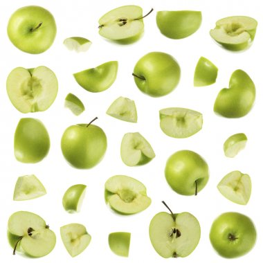 Green apple on white collection stock vector