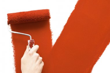 Painting with red roller