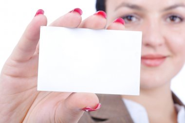 Attractive sexy woman holding empty card for you