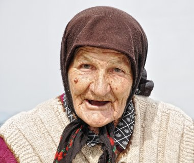 Very old woman with expression on her fa