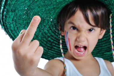 A little kid with rude gesture, middle f