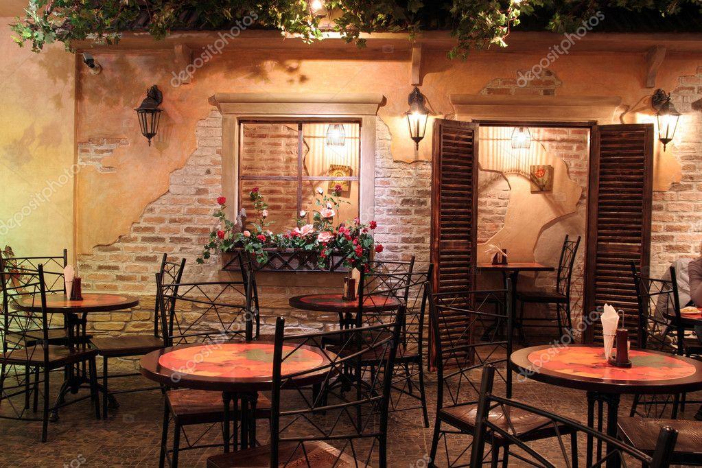 Retro restaurant interior with trees — stock photo