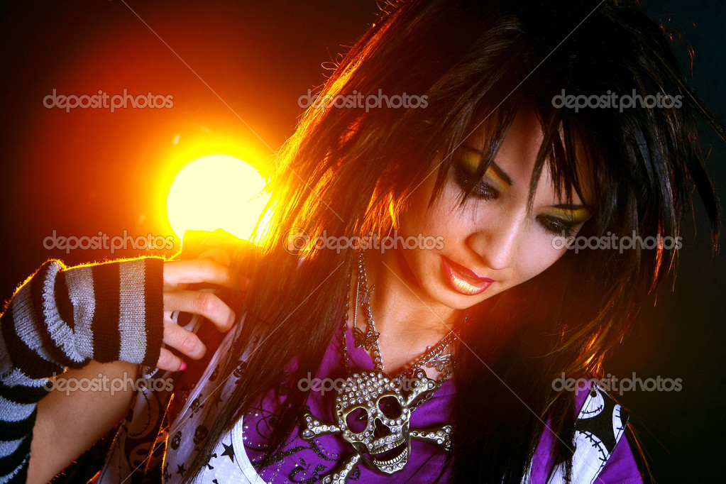 Emo girl with beautiful hair — Stock Photo