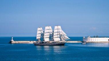 Sailboat entering the bay in Sevastopol