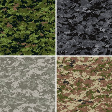 Digital camouflage seamless patterns (forest, urban, universal and disert colors) stock vector