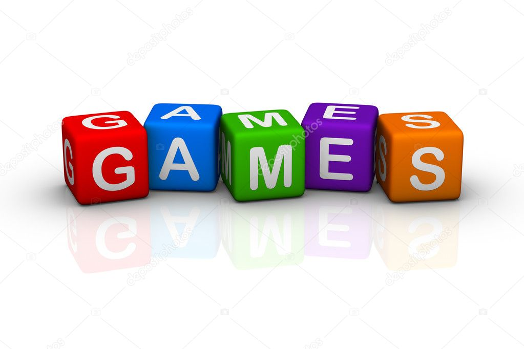 Games (colorful buzzword cubes series) stock vector