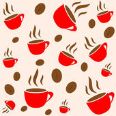 Kaffee-Zeit, rote Tasse und Bohne