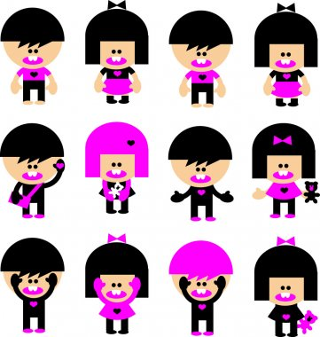 Vector Cartoon emo children icons