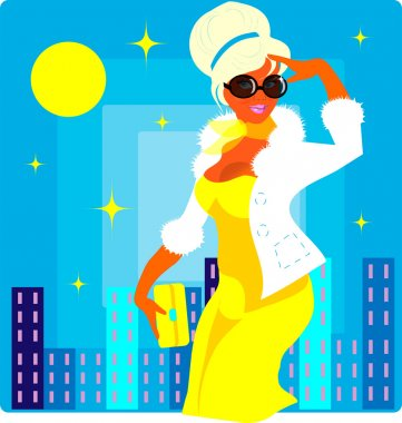Vector fashion woman in yellow
