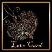 Gold elegant love heart card