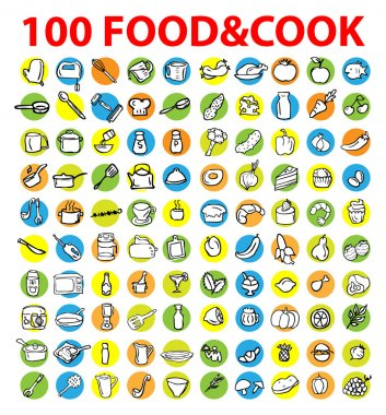 100 food and  cook icons