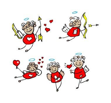 Cartoon love, valentin's angel