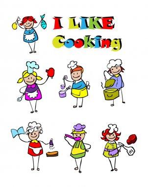 Cartoon cooking icons set, food